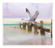 Sandhill Crane And Old Dock Fleece Blanket