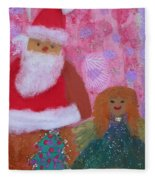 Santa Claus And Guardian Angel - Pintoresco Art By Sylvia Fleece Blanket