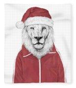 Santa Lion  Fleece Blanket