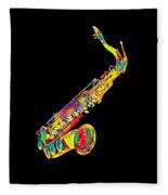 Saxophone Music Instrument Gift For Musician Color Designed Fleece Blanket