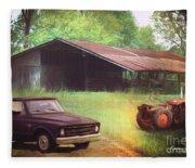 Scenes From The Past - Trucks And Tractors Fleece Blanket