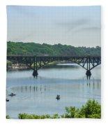 Schuylkill River View - Strawberry Mansion Bridge Fleece Blanket