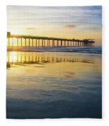 Scripps Pier Golden Hour 1 Fleece Blanket