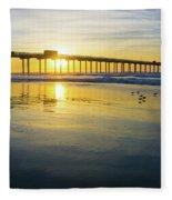 Scripps Pier Golden Sandpipers Fleece Blanket