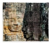 Sculptures At Bayon Temple, Angkor Fleece Blanket