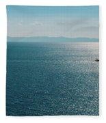 Sea With Two Boats Fleece Blanket