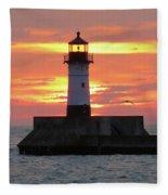 Seagulls And Sunrise Fleece Blanket
