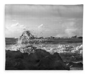 Seascape In Black And White Fleece Blanket