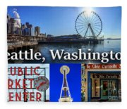 Seattle Washington Waterfront 01 Fleece Blanket
