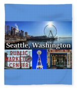 Seattle Washington Waterfront 01 Fleece Blanket