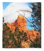 Sedona Adobe Jack Trail Blue Sky Clouds Trees Red Rock 5130 Fleece Blanket