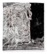 Self In Black Coloured Oil Transfer Drawing 11 Fleece Blanket