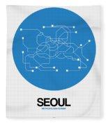 Seoul Blue Subway Map Fleece Blanket