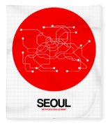 Seoul Red Subway Map Fleece Blanket