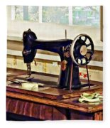 Sewing Machine In Kitchen Fleece Blanket
