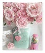 Shabby Chic Pink Roses In Aqua Mason Jar Romantic Cottage Floral Print Home Decor Fleece Blanket
