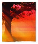 Shade Tree At Dawn Fleece Blanket