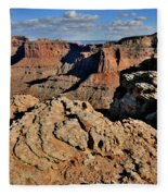 Shafer Canyon In Canyonlands Np Fleece Blanket