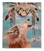 Shaman Mask And Wolf Fleece Blanket