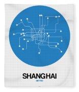 Shanghai Blue Subway Map Fleece Blanket