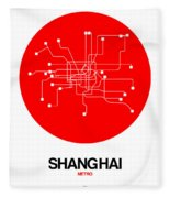 Shanghai Red Subway Map Fleece Blanket
