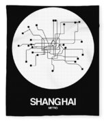 Shanghai White Subway Map Fleece Blanket