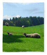 Sheep And Lambs In A Field Fleece Blanket