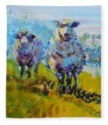 Sheep And Lambs In Bright Sunshine Fleece Blanket