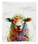 Sheep Portrait Fleece Blanket