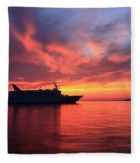 Ship At Mykonos Bay Mykonos Cyclades Greece  Fleece Blanket