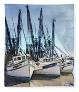 Shrimp Boats At Darien Fleece Blanket