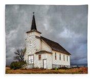 Shuttered Church In Cartwright North Dakota Fleece Blanket