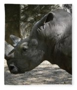 Side Profile Of A Large Rhinoceros With Two Horns  Fleece Blanket