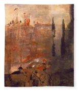 Siege Of A Castle 1910 Fleece Blanket
