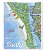 Siesta Key Illustrated Map With Green Lifeguard Station Fleece Blanket