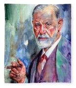 Sigmund Freud Portrait II Fleece Blanket