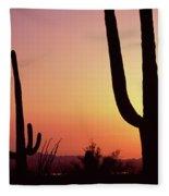 Silhouette Of Saguaro Cacti Carnegiea Fleece Blanket
