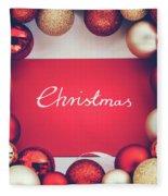 Silver Christmas Writing And Christmas Glass Balls. Fleece Blanket