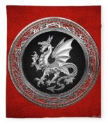 Silver Winged Norse Dragon - Icelandic Viking Landvaettir On Black And Silver Medallion Over Red  Fleece Blanket