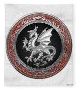 Silver Winged Norse Dragon - Icelandic Viking Landvaettir On Black And Silver Medallion Over White L Fleece Blanket