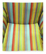 Sitting On Stripes Fleece Blanket