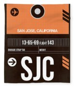 Sjc San Jose Luggage Tag II Fleece Blanket