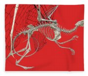 Skeleton Dragon With Red Fleece Blanket