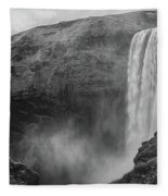 Skogafoss Iceland Black And White Fleece Blanket by Nathan Bush