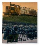 Sky Train Reflection Fleece Blanket