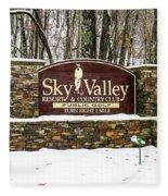 Sky Valley Georgia Welcome Sign In The Snow Fleece Blanket