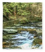 Small Waterfall In Creek And Stone Stairs Fleece Blanket