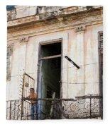 Smoker On Balcony In Cuba Fleece Blanket