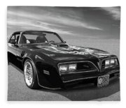 Smokey And The Bandit Trans Am In Mono Fleece Blanket