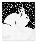 Snow Bunny Rabbit Holiday Winter Fleece Blanket
